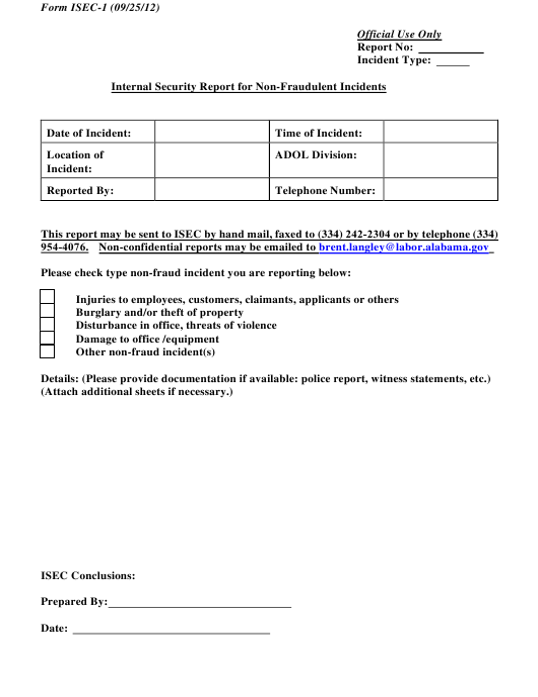 Form ISEC-1  Printable Pdf