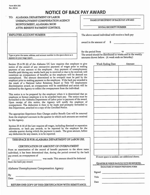 Form BEN290  Printable Pdf