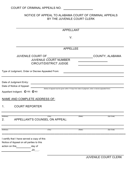 """Notice of Appeal to Alabama Court of Criminal Appeals by the Juvenile Court Clerk"" - Alabama Download Pdf"