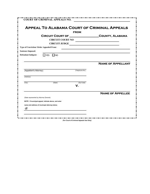 """""""Appeal to Alabama Court of Criminal Appeals"""" - Alabama Download Pdf"""
