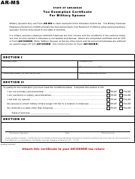 Form AR-MS Tax Exemption Certificate for Military Spouse - Arkansas