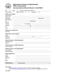 Form FI-0011 Customer Master Record Request - Arkansas