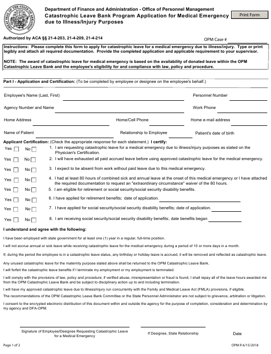 """""""Catastrophic Leave Bank Program Application for Medical Emergency Due to Illness/Injury Purposes"""" - Arkansas Download Pdf"""
