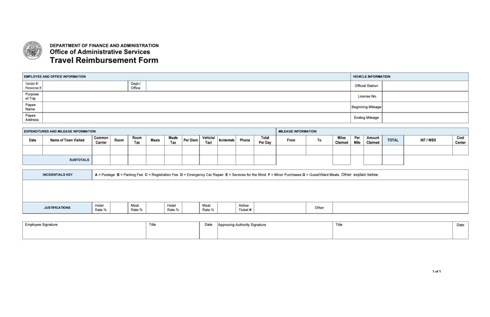 """Travel Reimbursement Form"" - Arkansas Download Pdf"