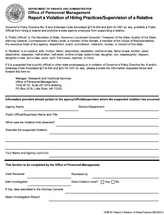 """""""Report a Violation of Hiring Practices/Supervision of a Relative"""" - Arkansas Download Pdf"""