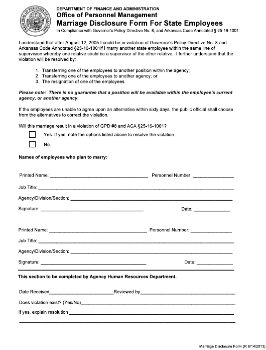 """""""Marriage Disclosure Form for State Employees"""" - Arkansas Download Pdf"""