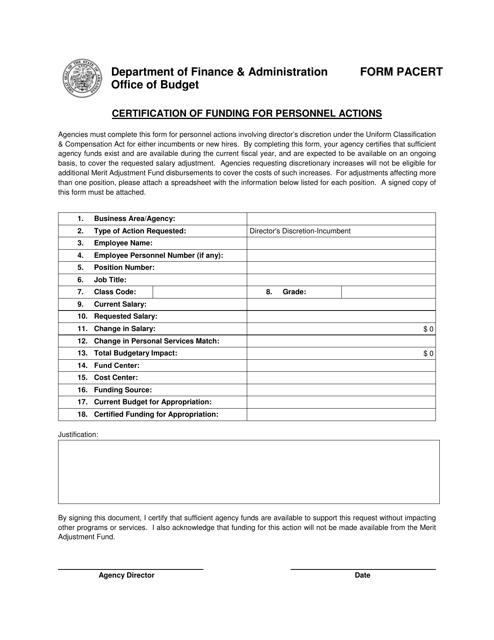 Form PACERT  Printable Pdf