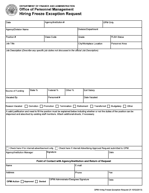 """Hiring Freeze Exception Request"" - Arkansas Download Pdf"