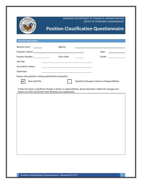 """""""Position Classification Questionnaire Form"""" - Arkansas Download Pdf"""
