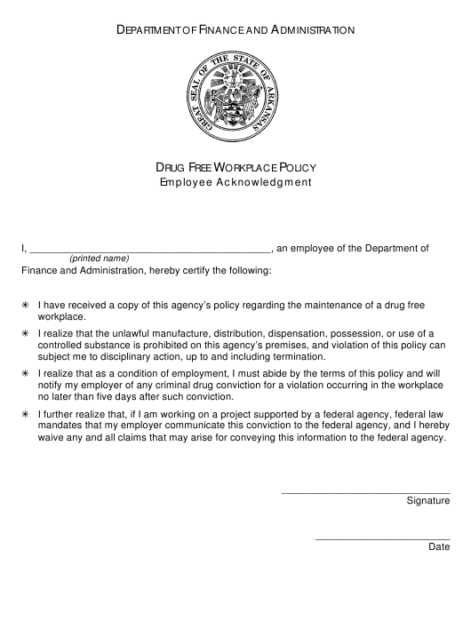 """""""Drug Free Workplace Policy Employee Acknowledgement Form"""" - Arkansas Download Pdf"""