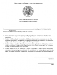 Drug Free Workplace Policy Employee Acknowledgement Form - Arkansas