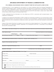 Form CBCC Dfa Criminal Background Check Consent Form for Applicant and Employees - Arkansas