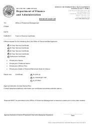 Years of Service / Retirement Certificate Request Form - Arkansas