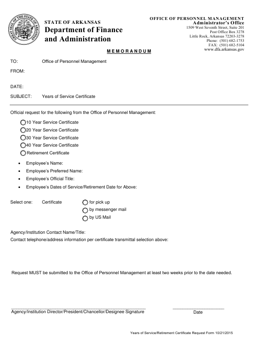 """""""Years of Service / Retirement Certificate Request Form"""" - Arkansas Download Pdf"""