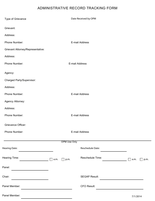 """Administrative Record Tracking Form"" - Arkansas Download Pdf"