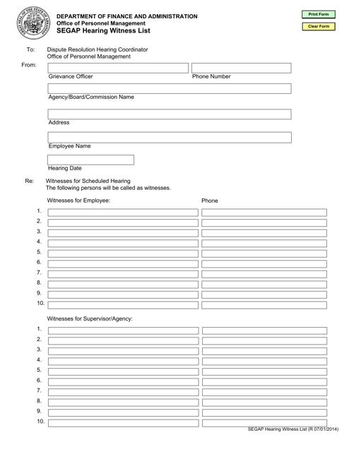 """Segap Hearing Witness List Form"" - Arkansas Download Pdf"