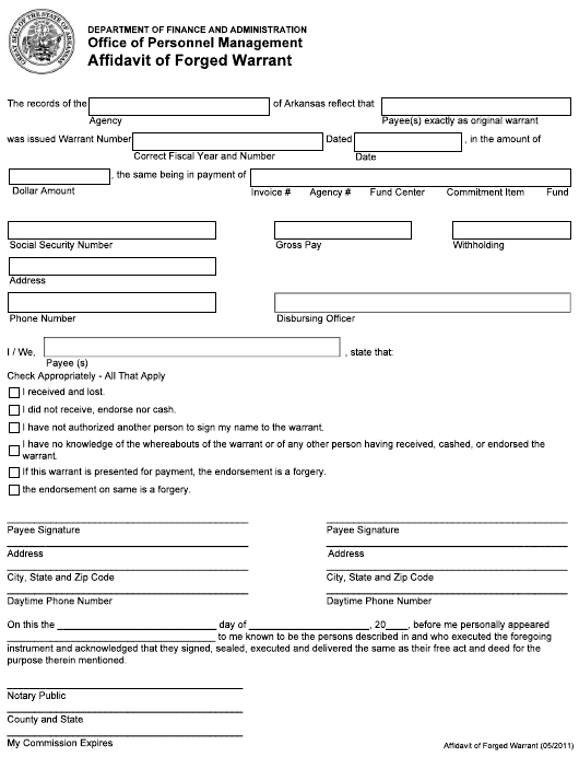 """Affidavit of Forged Warrant"" - Arkansas Download Pdf"