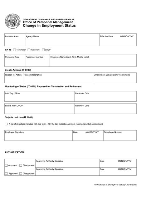 """Change in Employment Status Form"" - Arkansas Download Pdf"