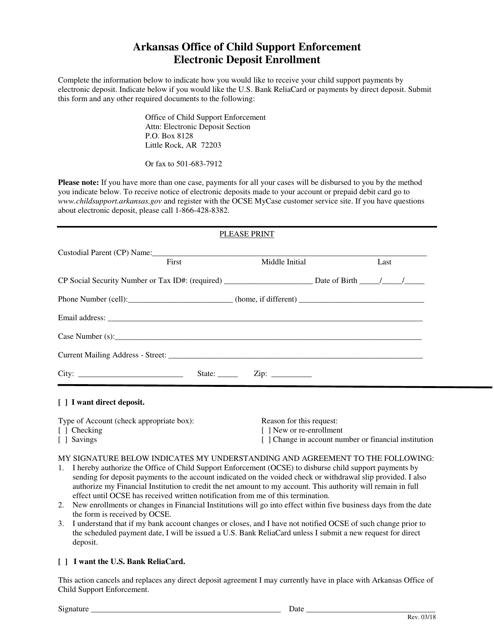 """Electronic Deposit Enrollment Form"" - Arkansas Download Pdf"
