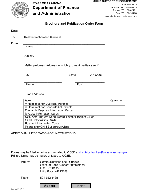 """Brochure and Publication Order Form"" - Arkansas Download Pdf"