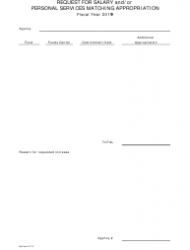 2019 Request Form for Salary and/Or Personal Services Matching Appropriation - Arkansas