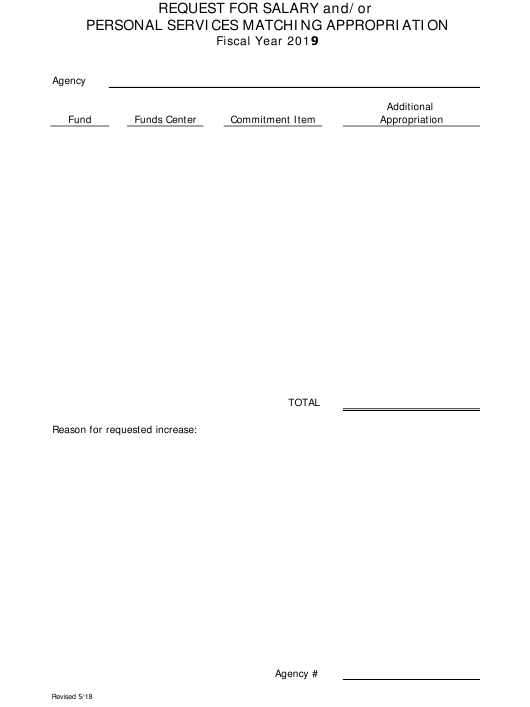 2019 Request Form for Salary and/Or Personal Services Matching Appropriation - Arkansas Download Pdf