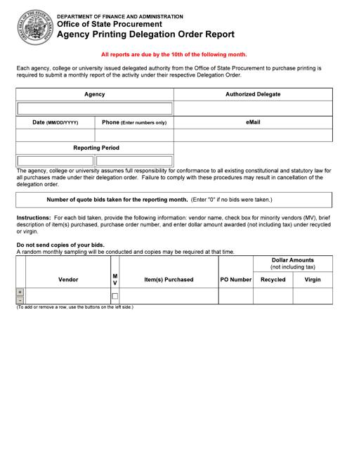 """Agency Printing Delegation Order Report"" - Arkansas Download Pdf"