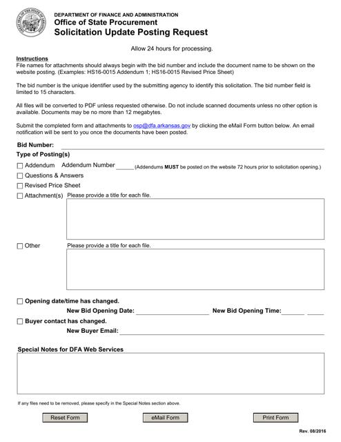 """""""Solicitation Update Posting Request Form"""" - Arkansas Download Pdf"""