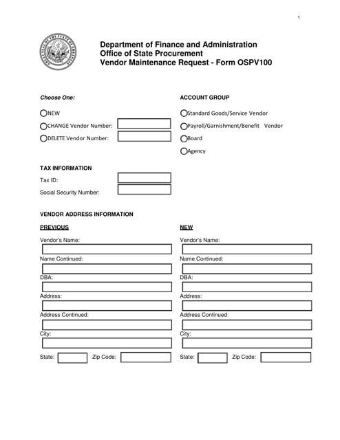 Form OSPV100  Printable Pdf