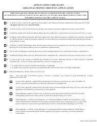 """Application Checklist for Arkansas Money Services Application Form"" - Arkansas"