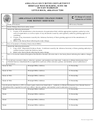 """Arkansas Licensee Change Form for Money Services"" - Arkansas"