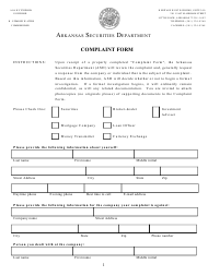 """Complaint Form"" - Arkansas"