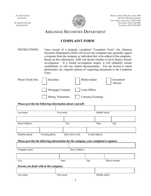 """""""Complaint Form"""" - Arkansas Download Pdf"""
