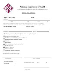 """Service Area Approval Form"" - Arkansas"
