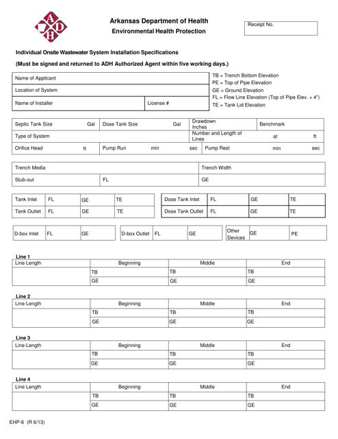 Form EHP-6  Printable Pdf