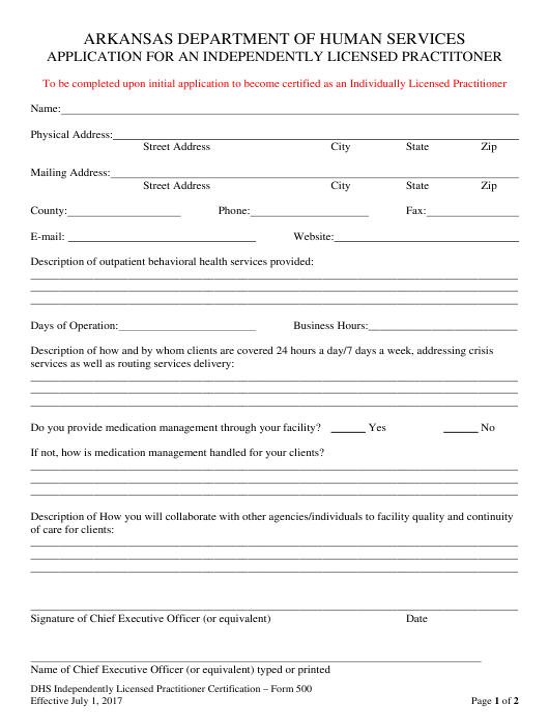 Form 500  Printable Pdf