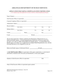 "Form 310 ""Application for Partial Hospitalization Certification"" - Arkansas"