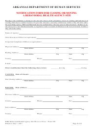 """Form 220 """"Notification Form for Closing or Moving a Behavioral Health Agency Site"""" - Arkansas"""