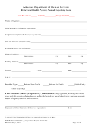 """Form 240 """"Behavioral Health Agency Annual Reporting Form"""" - Arkansas"""