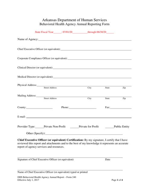 Form 240  Printable Pdf