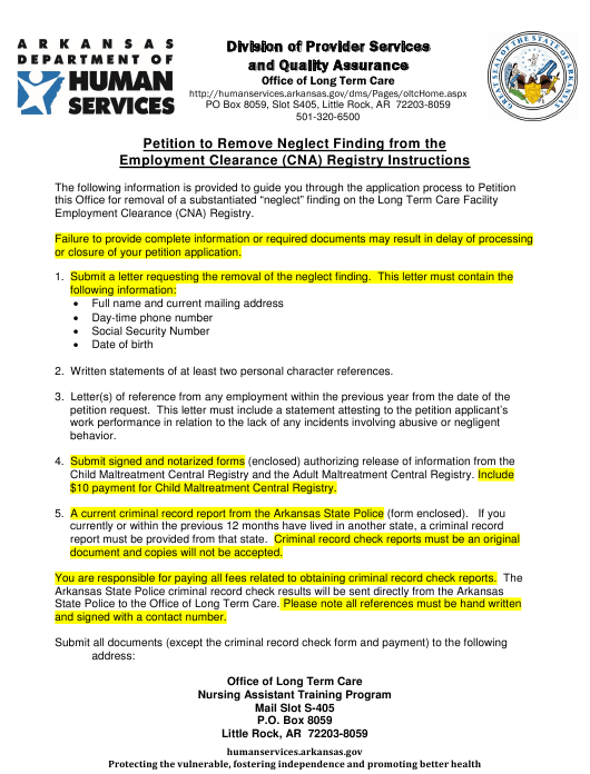 """""""Petition to Remove Neglect Finding From the Employment Clearance (Cna) Registry"""" - Arkansas Download Pdf"""