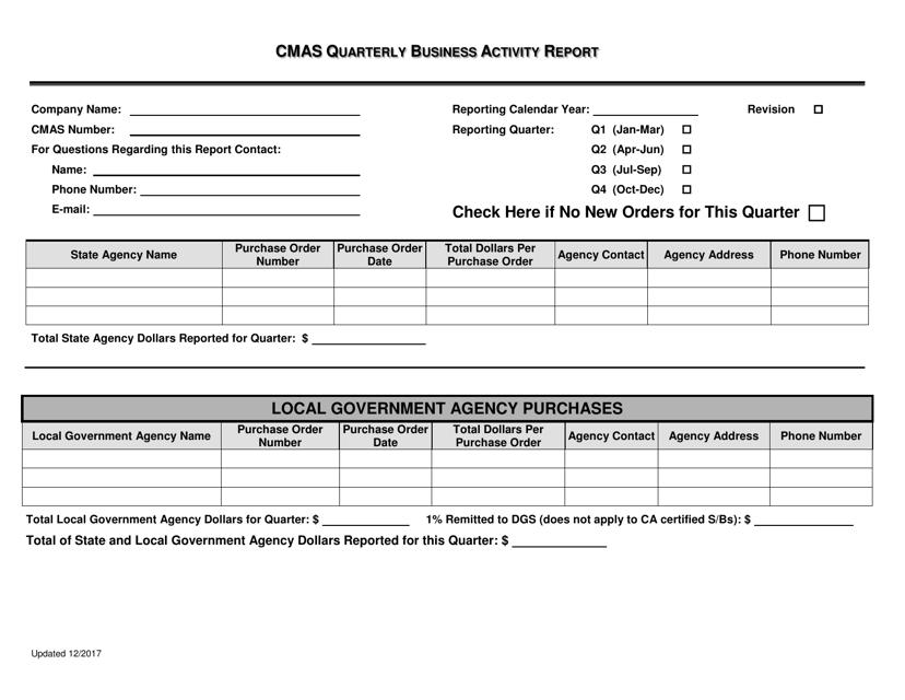 """Cmas Quarterly Business Activity Report Form"" - California Download Pdf"