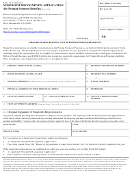 """Nonprofit Recognition Application (For Prompt Payment Benefits)"" - California"