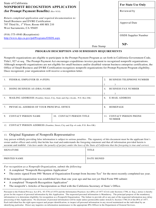 """Nonprofit Recognition Application (For Prompt Payment Benefits)"" - California Download Pdf"