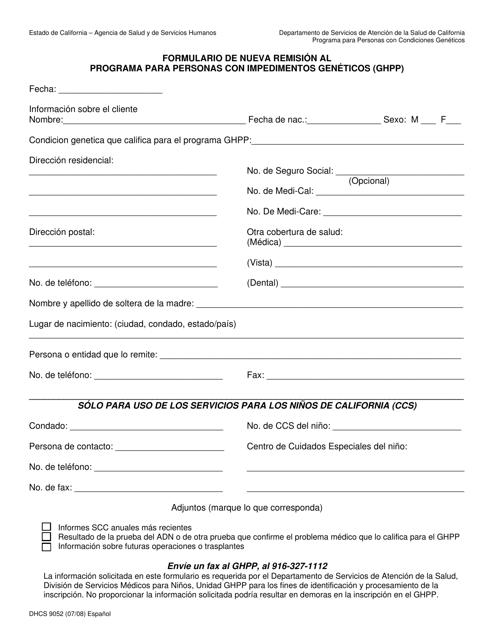 Formulario DHCS9052  Printable Pdf