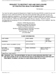 "Form DHCS6240A ""Request to Restrict Use and Disclosure of Protected Health Information (Northern California Regional Office/San Francisco)"" - City and County of San Francisco, California"
