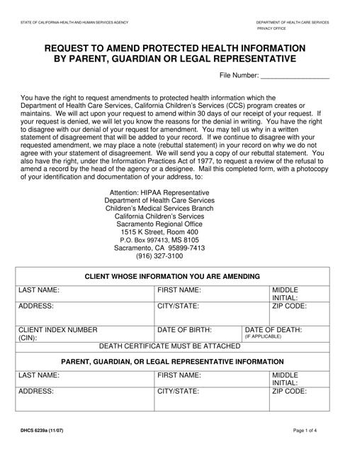 Form DHCS6239A  Printable Pdf