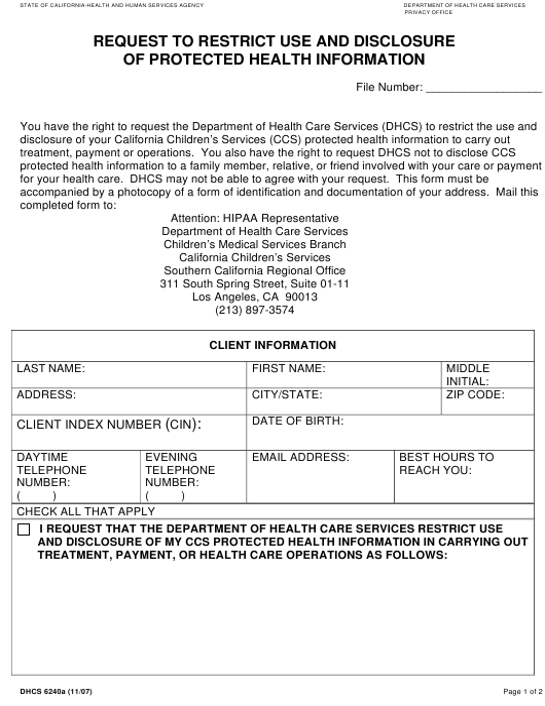 Form DHCS6240A  Printable Pdf