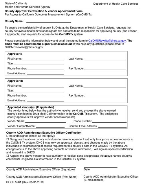 Form DHCS5261  Printable Pdf