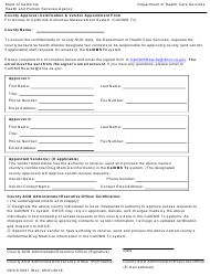 Form DHCS 5261 County Approver Certification and Vendor Appointment Form for Access to California Outcomes Measurement System (Caloms Tx) - California
